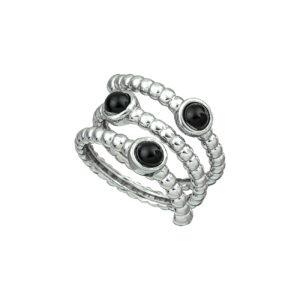 Ασημένιο δαχτυλίδι με ορυκτές πέτρες