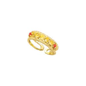 Επίχρυσο ασημένιο δαχτυλίδι με κοράλι