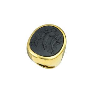 Επίχρυσο ασημένιο δαχτυλίδι με ζιργκόν και πέτρα λάβας