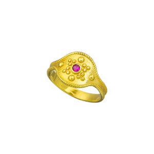 Επίχρυσο ασημένιο δαχτυλίδι με ορυκτή πέτρα