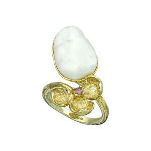 Επίχρυσο ασημένιο δαχτυλίδι με ζιργκόν