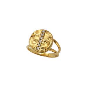 Επίχρυσο δαχτυλίδι με ζιργκόν