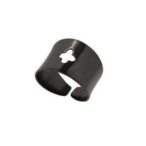 Μαύρο Επίχρυσο δαχτυλίδι με σταυρό