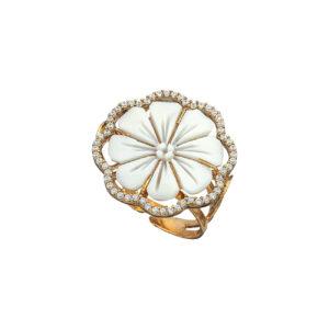 Ροζ επίχρυσο ασημένιο δαχτυλίδι με καμέο και ζιργκόν