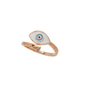 Ροζ Επίχρυσο δαχτυλίδι με κλασικό ματάκι από σμάλτο