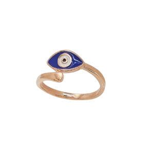 Ροζ Επίχρυσο δαχτυλίδι με σκούρο μπλε ματάκι από σμάλτο