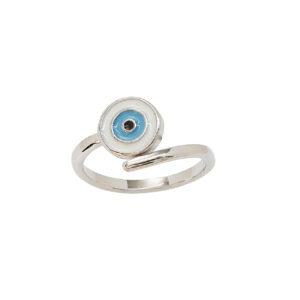 Ασημένιο δαχτυλίδι με ματάκι από σμάλτο