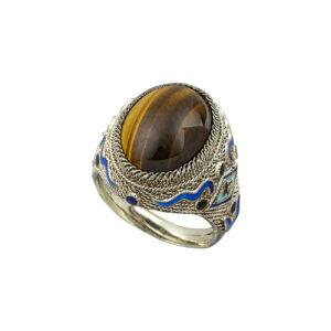 Ασημένιο δαχτυίδι tiger eye