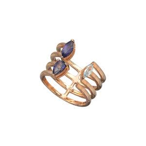 Ροζ επίχρυσο ασημένιο δαχτυλίδι με ιολίτη και topaz