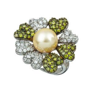 Ασημένιο δαχτυλίδι με μαργαριτάρι και χρωματιστά ζιργκόν.