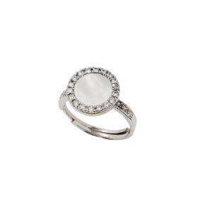 Ασημένιο δαχτυλίδι με ζιργκόν και mother of pearl