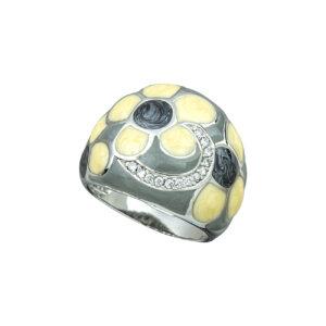 Ασημένιο δαχτυλίδι με σμάλτο και ζιργκόν