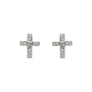 Ασημένια σκουλαρίκια σταυροί με ζιργκόν