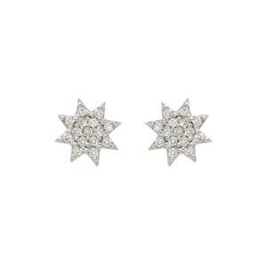 Ασημένια σκουλαρίκια με ζιργκόν σε σχήμα αστεριού
