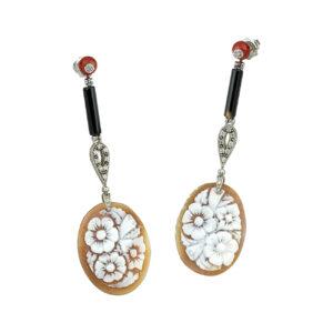Ασημένια σκουλαρίκια με καμέο
