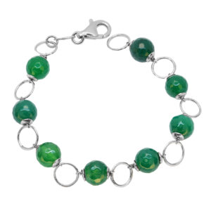 Ασημένιο βραχιόλι με πράσινες ορυκτές πέτρες