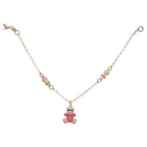 Ασημένιο βραχιολι με ροζ αρκουδάκια