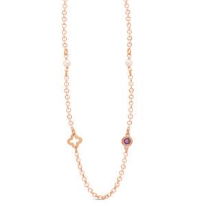 Ροζ Επίχρυσο κολιέ με μαργαριτάρια και ορυκτές πέτρες