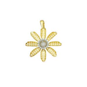Επίχρυση μενταγιόν λουλούδι με ζιργκόν