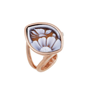 Ασημένιο ροζ επίχρυσο δαχτυλίδι καμέο σε νυχάτο σχήμα από αχάτη