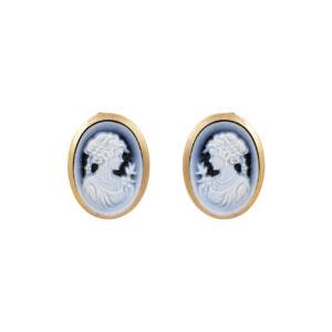 Ζεύγος σκουλαρίκια με μπλε αχάτη