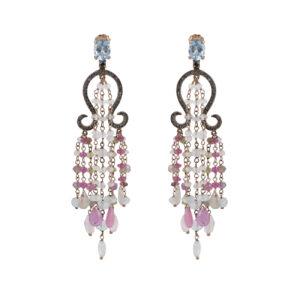 Ασημένια ροζ επίχρυσα κρεμαστά σκουλαρίκια τύπου chandelier