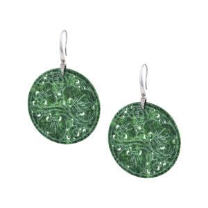 Κρεμαστά σκουλαρίκια με γάντζο από παλλάδιο ενωμένο με στρογγυλή πέτρα από γνήσιο σκούρο πράσινο jade