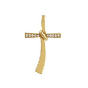 Χρυσός σταυρός κόμπος με μπριγιάν