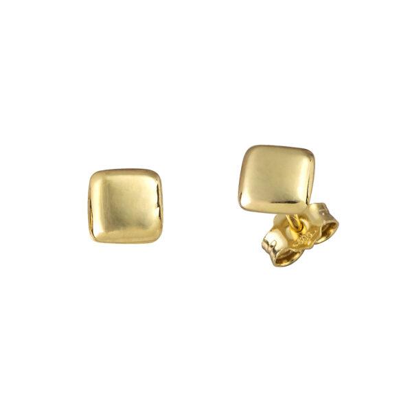 Χρυσά σκουλαρίκια Μπουλ Τετράγωνα