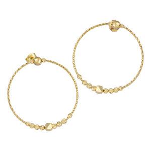 Χρυσά σκουλαρίκια Διαμαντέ Κύκλοι