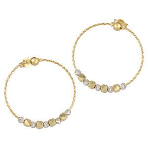Χρυσά σκουλαρίκια Δίχρωμα Διαμαντέ