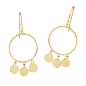 Χρυσά σκουλαρίκια Κρεμαστοί Κύκλοι