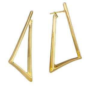 Χρυσά σκουλαρίκια Πλακέ Τριγωνικό