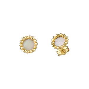 Χρυσά σκουλαρίκια Mother of Pearl Κύκλοι
