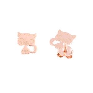 Ροζ επιχρυσα σκουλαρίκια γάτες