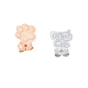 Δίχρωμα σκουλαρίκια γατάκι - πατούσα