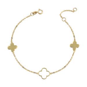 Χρυσό βραχιόλι Τετράφυλλο Τριφύλλι