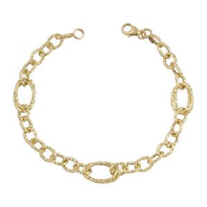 Χρυσό βραχιόλι Διαμαντέ Κρίκοι