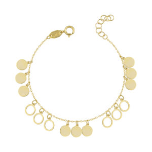 Χρυσό βραχιόλι Κρεμαστοί Κύκλοι