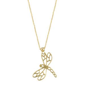 Χρυσό κολιέ με κλασική αλυσίδα και διάτρητο μενταγιόν που απεικονίζει λιβελούλα. Κομψό κολιέ ιδανικό να φορεθεί καθ' όλη τη διάρκεια της ημέρας.
