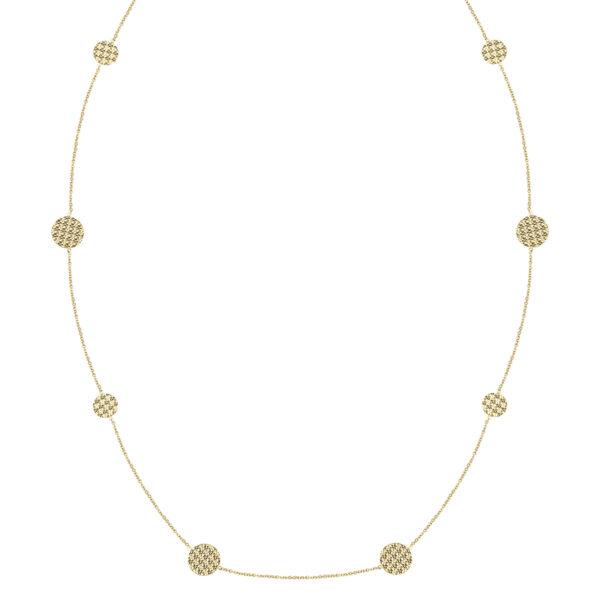 Μακρύ χρυσό κολιέ Διαμαντέ Κύκλοι