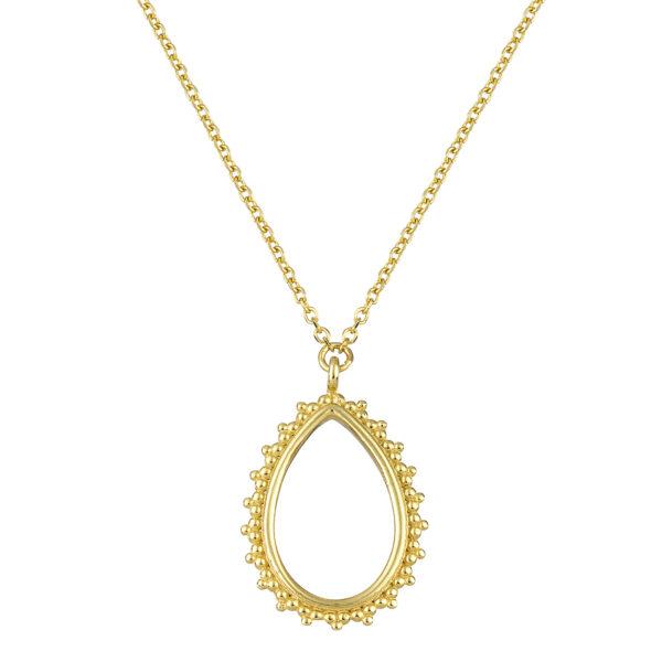 Χρυσό κολιέ με κλασική αλυσίδα και διάκενο μενταγιόν σε σχήμα σταγόνας. Περιμετρικά του υπάρχουν μικρές μπιλίτσες δημιουργώντας την εικόνα μιας κορνίζας.