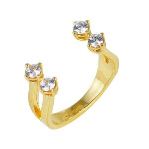 Ασημένιο επίχρυσο δαχτυλίδι ανοιχτής περιμέτρου στο επάνω μέρος και διπλής γάμπας