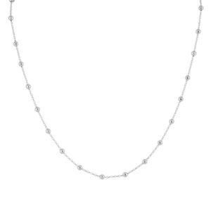 Ασημένιο μακρύ κολιέ με αλυσίδα και μπίλιες. Οι μπίλιες βρίσκονται κατά μήκος όλης της αλυσίδας με 1.8 εκ απόσταση μεταξύ τους