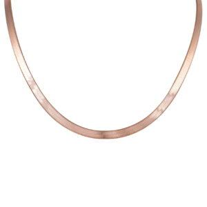 Ασημένια ροζ επίχρυση φαρδιά αλυσίδα σε στυλ ψαροκόκκαλο (Herringbone). Αποτελείται από λεπτά επίπεδα τμήματα τα οποία κάμπτονται στη μέση