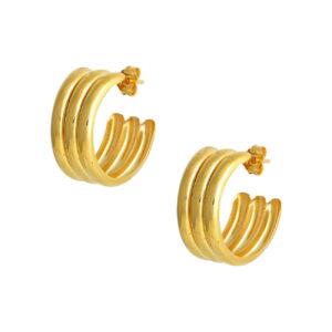Ζεύγος σκουλαρίκια ασημένια κίτρινο επίχρυσο. 1/2 κάθετος κρίκος που δημιουργεί σχέδιο τριών κρίκων παράλληλα ενωμένων.