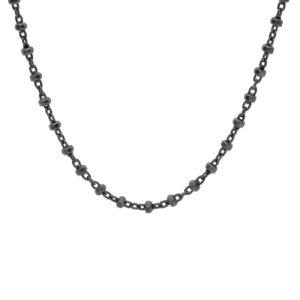 Ασημένιο μαύρο επιπλατινωμένο κολιέ αλυσίδα διακοσμημένο με διαμαντέ κυλινδράκια σε πυκνά διαστήματα