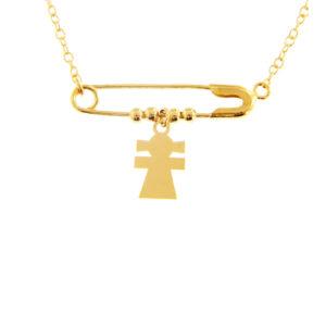 Χρυσό κολιέ 14Κ με αλυσίδα και μενταγιόν σε σχήμα παραμάνας από το οποίο κρέμεται μοτίφ σε σχήμα κοριτσιού και 4 μικρές μπίλιες.