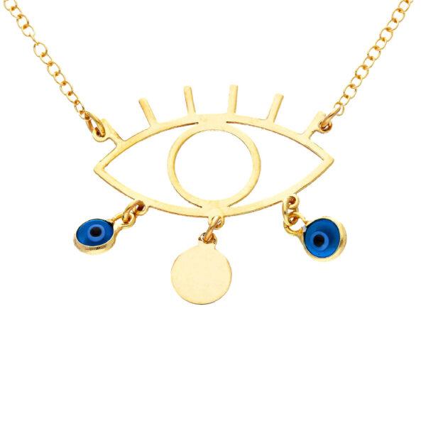 Χρυσό κολιέ 14Κ με αλυσίδα και μοτίφ σε σχήμα ματιού στο οποίο κρέμονται 2 μικρά μάτια από γυαλί και 1 στρογγυλό στοιχείο.