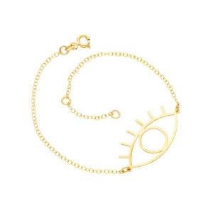 Χρυσό βραχιόλι 14Κ με αλυσίδα και μοτίφ σε σχήμα ματιού. Ένα όμορφο και ευκολοφόρετο βραχιόλι για όλες τις ώρες. Μήκος αλυσίδας 17 και 19 εκ.